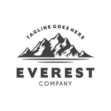 Ice Snow Rocky Mountain Logo Design , Mountain Landscape Logo For Hiking