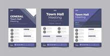 Townhall Meeting Flyer Design Template Bundle. Virtual Town Hall Meeting Conference Poster Leaflet Design. Flyer Design 3 In 1 Template Bundle