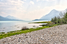 Landscapes Along The Shores Of Abraham Lake And The South Saskatchewan River In The Canadian Rocky Mountains