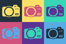 Pop Art Photo Camera Icon Isolated On Color Background. Foto Camera. Digital Photography. Vector
