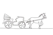 Single One Line Drawing Vintage Transportation, Horse Pulling Carriage. Old Carriage With A Horse, A Horse Pulls A Carriage Behind Him. Modern Continuous Line Draw Design Graphic Vector Illustration
