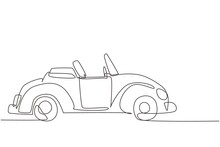 Single Continuous Line Drawing Old Retro Convertible Car Parked At City Street. Symbol Of Collectors Car And Automotive. Vintage Motor Vehicle. Dynamic One Line Draw Graphic Design Vector Illustration