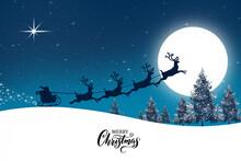 Merry Christmas Reindeer And Santa`s Sleigh , Tree , Season December , Background