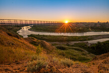 Bridge Over The River At Sunrise