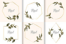 Minimalist Watercolor Floral Frame Collection With Hand Drawn Leaves