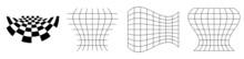 Distorted, Deformed Grids, Meshes, Checkerboards. Abstract Warp, Tweak Distortion, Deformation Effect Design Elements