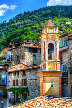 Bell Tower Of Chapelle Saint-Jean In The Village Of Luceram, Alpes-Maritimes, Provence, France