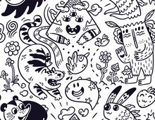 Funny Creatures Seamless Pattern For Coloring Book