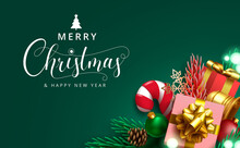 Christmas Greeting Vector Design. Merry Christmas Text With Gift Boxes And Ornament Xmas Elements For Holiday Season Card Decoration. Vector Illustration.