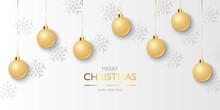 Christmas Balls Background, Hanging Gold Christmas Balls And Snowflakes, Vector Illustration