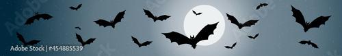 Bannière décor avec chauves-souris pour la nuit d'halloween