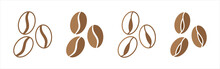 Coffee Bean Icon Set. Coffee Beans Icons Vector Set. Brown Color