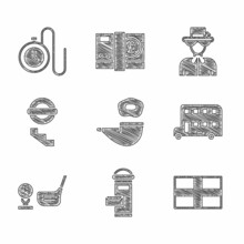 Set Smoking Pipe, London Mail Box, Flag Of England, Double Decker Bus, Golf Club With Ball Tee, Underground, Queen Elizabeth And Watch Chain Icon. Vector