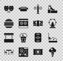 Set Ice Cream In Waffle Cone, Bumper Car, Ferris Wheel, Road Traffic Signpost, Shooting Gallery, Burger, Comedy And Tragedy Masks And Stacks Paper Money Cash Icon. Vector
