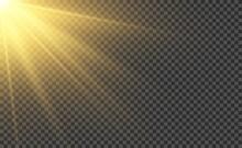 Sunlight Realistic Effect. Light Ray Or Sun Beam. Shiny Magic Sunset Vector Illustration