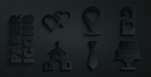 Set Tie, Please Do Not Disturb, Church Building, Wedding Cake, Location With Heart And Two Linked Hearts Icon. Vector