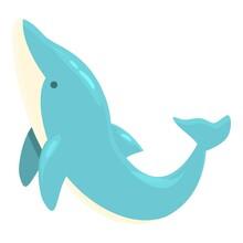Aqua Dolphin Show Icon Cartoon Vector. Marine Pool. Jumping Fish