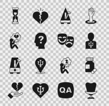 Set Armchair, Sedative Pills, Psychology, Psi, Metronome With Pendulum, Head Question Mark, Broken Heart Or Divorce, Old Hourglass And Comedy And Tragedy Masks Icon. Vector