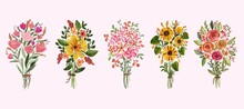 Set Of Beautiful Watercolor Bouquets Of Soft Pink And Yellow Sunflowers Roses And Leaves Arrangement
