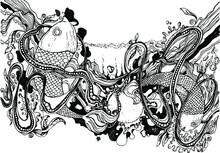 Vector Illustration,two Fish,water,spray,sun And Algae,bubbles,tattoo,black Liner,postcard