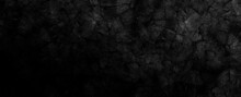 Dark Rock Texture With Cracks. Black Stone Background With Copy Space For Design. Wide Banner Wallpaper