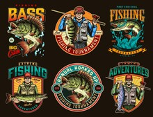 Fishing Adventures Colorful Emblems