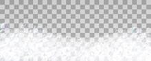 Realistic Soap Foam With Bubbles Vector Illustration. Liquid Foamy Effect For Relaxing Taking Bath