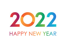 Colorful Text 2022 Happy New Year For Greeting Card On White Background, Calendar, Invitation. Minimalist Design