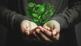 World Earth Day Concept. Green Energy, Renewable and Sustainable Resources. Environmental and Ecology Care. Hand Gesture Levitating a Green leaf as Heart Shape