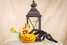 Next To The Antique Lamp Sits A Black Shaggy Spider With Red Eyes, A Halloween Pumpkin, And A Lily Flower.