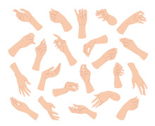Simple Woman Hands In Various Positions