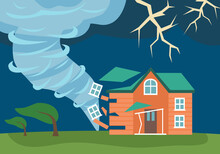 Tornado Swirl Natural Disaster With Damaged House At Countryside Concept Vector Illustration. Twister Storm.