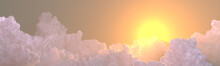 Panorama Of Clouds Sundown With Sun Beams , Conceptual Nature 3D Illustration