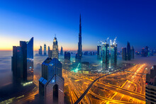Dubai City View In Fog, United Arab Emirates