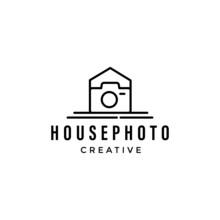 Camera Photography Logo Design Vector, House Photography Logo Inspiration.