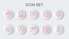 Set Line Pepper Spray, Police Helmet, Protest, Television Report, Scales Of Justice, Lying Burning Tires, And Pistol Gun Icon. Vector
