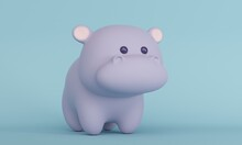 Cute Little Hippo On A Blue Background With Copy Space. 3d Rendering
