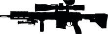 Military Of Germany - German Fully Automatic Machine Gun, Sniper Rifle Heckler & Koch G28 DMR Complete Rifle Package HK241 Precision Rifle With A Telescopic Sight HK-G28. Silhouette