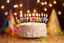 Birthday Cake With Candles. Happy Birthday