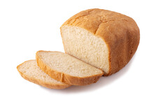 A Loaf Of Wheat Bread, Cut Into Slices On A White Background