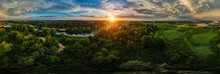 Landscape From Above. Trees And River At Sunset. Drone Photo