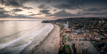 Pacific Beach In San Diego With Beachfront Homes And Motels.