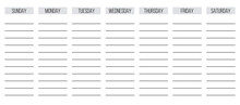 Blank Week Personal Or Office Planner, Sunday First, Vector Ready For Print Template