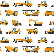 Heavy Trucks Pattern. Seamless Print With Construction Vehicles And Industrial Building Machinery For Earthwork, Lifting And Transportation. Vector Working Transport Texture Template