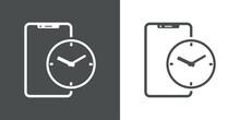 Icono Silueta De Smartphone Con Aplicación Con Esfera De Reloj Simple Con Lineas En Fondo Gris Y Fondo Blanco