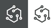 Tecnología Electrónica. Logotipo Circuito Digital En Cuadrado 3d Con Lineas En Fondo Gris Y Fondo Blanco