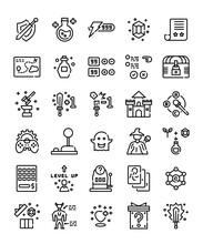 Set Of Simple Line Rpg Game Items
