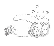 White Sheep Sleep Sweetly In Their Arms. The Concept Of Sweet Dreams, Relaxation, Night Rest, Healthy Sleep. Vector Illustration In Cartoon Cheerful Style On Blue.