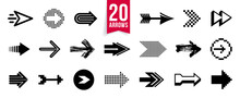 Diverse Arrow Cursors Vector Set, Different Shapes Styles And Concepts Arrows Single Color Monochrome Graphic Design Elements For Icons Or Logos.