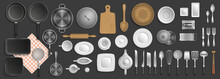 Kitchen Utensils. Top View. Kitchenware, Cookware, Kitchen Tools Collection. (view From Above)